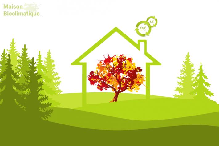 la maison bioclimatique s'insère harmonieusement dans son environnement