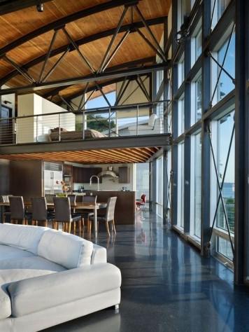 intérieur d'une maison design à ossature métallique
